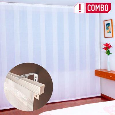 Combo Cortina Solar Textil Ésta Deco 160x200 cm + Set de Riel Solera Blanco x200 cm