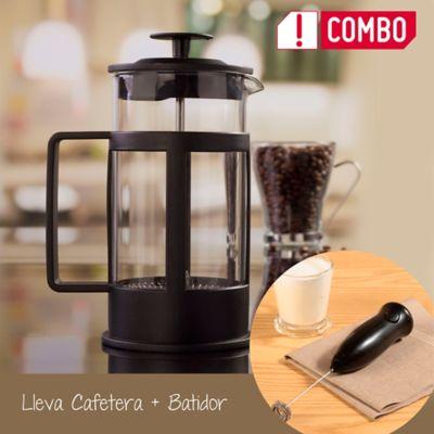Combo Cafetera 800ml Presión Negra + Batidor Manual