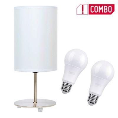 Combo Lámpara De Mesa Niza X2 Unidades Con 1 Luz Rosca E27 Blanca - Niquel + Set De 2 Bombillo Led A60 E27 Luz Blanca