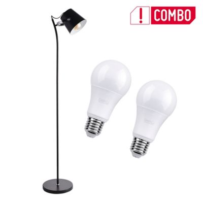Combo Lámpara De Pie Assen 1 Luz E27 Negro + Set De 2 Bombillo Led A60 E27 Luz Blanca
