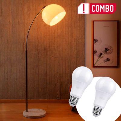 Combo Lámpara Ara Pie Arco 1 Luz E27 Blanco + Set De 2 Bombillo Led A60 E27 Luz Blanca