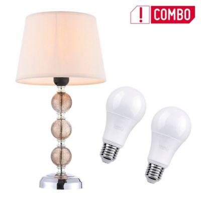 Combo Lámpara De Mesa Lía 1 Luz E27 Cromo + Set De 2 Bombillo Led A60 E27 Luz Blanca