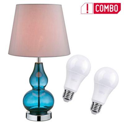 Combo Lámpara Mesa Varzim 1 Luz E27 Vidrio Azul + Set De 2 Bombillo Led A60 E27 Luz Blanca