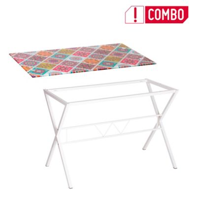 Combo Tablero Vidrio Diseño Mosaico+ Estructura Inferior Pata Cruz