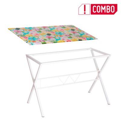 Combo Tablero Vidrio Diseño Floral+ Estructura Inferior Pata Cruz