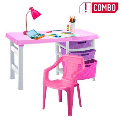 Combo Escritorio Infantil Rosa + Silla Plástica Rosada