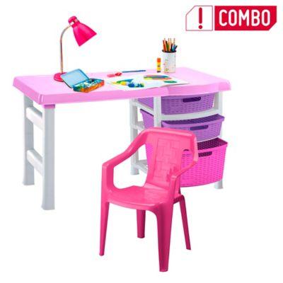 Combo Escritorio Infantil Rosa + Silla Plástica Violeta