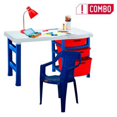 Combo Escritorio Infantil Nautico + Silla Plástica Azul