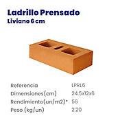 Ladrillo Prensado Liviano 24,5X12X6cm 2.2K  56 u/m2