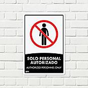 Señal Solo Personal Autorizado 22x15cm