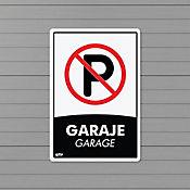 Señal Garaje Prohibido Parquear 22x15cm