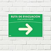 Señal Ruta Evacuación Derecha Fotoluminiscente 22x15cm