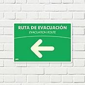 Señal Ruta Evacuación Izquierda Fotoluminiscente 22x15cm