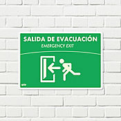 Señal Salida Evacuacion Izquierda Fotoluminiscente. 22X15Cm