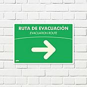 Señal Ruta Evacuación Derecha Fotolumin. 35x24cm