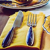 Cubiertos Lazo Azul 6ptos 24 Piezas + Cubiertero En Madera