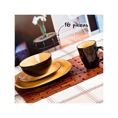 Vajilla en cerámica bicolor mostaza para 4 puestos 16 piezas ... 261764dc4de0