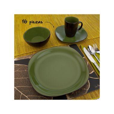 Vajilla en cerámica bicolor verde para 4 puestos 16 piezas b0e8a43bfe3f