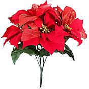 Flor 33cm Hojas Rojas X7
