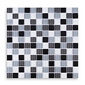 Mosaico vidrio negro blanco 4mm 30 x 30 cm unidad