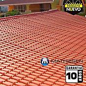 Teja Termoacustica UPVC COLONIAL 1.97 x 0.72m espesor 2.3mm Rojo exterior / Blanco Interior