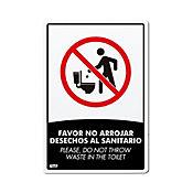 Señal Favor No Arrojar Desechos al Sanitario 22x1