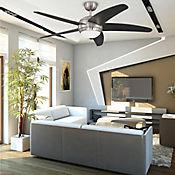 Ventilador Decorativo con Luz Bendan 5 Aspas 132 cm Gris