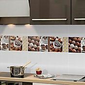 Base Cerámica Decorada para Cocina Ambrosia 20x60 Centímetros Café