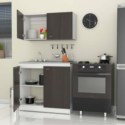 Cocina integral n poles 1 metro roble ahumado blanco for Muebles de cocina homecenter