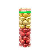 Set 50und Esferas 8cm 4 Texturas Rojo Dorado