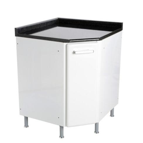 Mueble Inferior para Cocina Esquinero Gourmet 68 cm 1 Puerta Blanco con  Mesón Postformado Negro