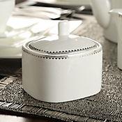 Azucarera Porcelana Borde Plata