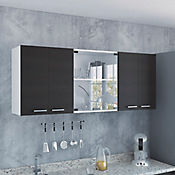 Gabinete Superior Vidrio con 4 Puertas Wengue Alto 60 cm x Ancho 150 cm x Fondo 31.5 cm