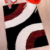 Tapete Shaggy Circle 160x230 cm Rojo