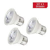 Bombillo LED Dicroico x 3 Unidades Luz Blanca 5 Vatios
