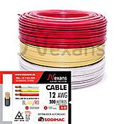 Propack 3 Rollos de Cable #12 X 100m Amarillo, Blanco y Rojo
