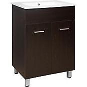 Mueble de baño Abrantes Wengue 60x46x85 cm con lavamanos Blanco