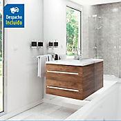 Kit lavamanos Barcelona blanco con mueble Misus Rh 63x48 cm Avellana