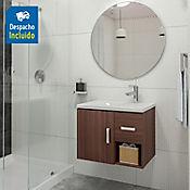 Kit lavamanos Parma blanco con mueble Monet ele 63x48 cm Nuez