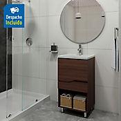 Kit lavamanos Rio blanco con mueble Valdez piso 48x43 cm Nuez