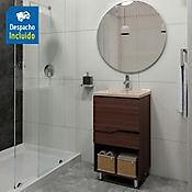 Kit lavamanos Quadratto bone con mueble Valdez piso 48x43 cm Nuez