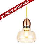 Lámpara Colgante Vitage 1 Luz E27 Vidrio Ovalo Bronce