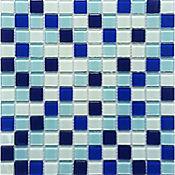 Malla vidrio azul ocuro/celeste/blanco 30 x 30 cm 4mm