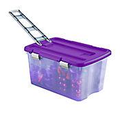 Caja Plástica Con Ruedas Púrpura 120 litros