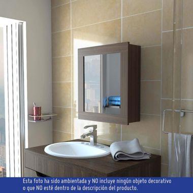 Espejo Bano.Gabinete Para Bano Luma 1 Puerta Con Espejo 52x47x14 6 Cm Amareto