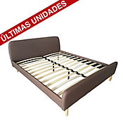Cama Jonah Queen 160x200 cm Tela Chocolate