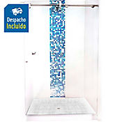 División para Baño Corrediza 110.1 a 120x180 cm Vidrio de 6 milímetros Amiga Barra Básica