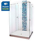 División para Baño Corrediza 130.1 a 140x180 cm Vidrio de 8 milímetros Premium Barra Deslizante Elite