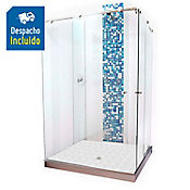 División para Baño Corrediza 90x120x180 cm Vidrio de 8 milímetros Premium Barra Deslizante Básica