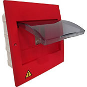 Tablero Enchufable Monofase 6 Circuitos Sin Puerta No Totalizador Rojo